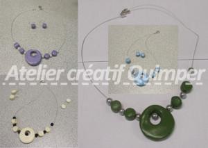 Photos de Collier Rond en Pardo et perles en verre