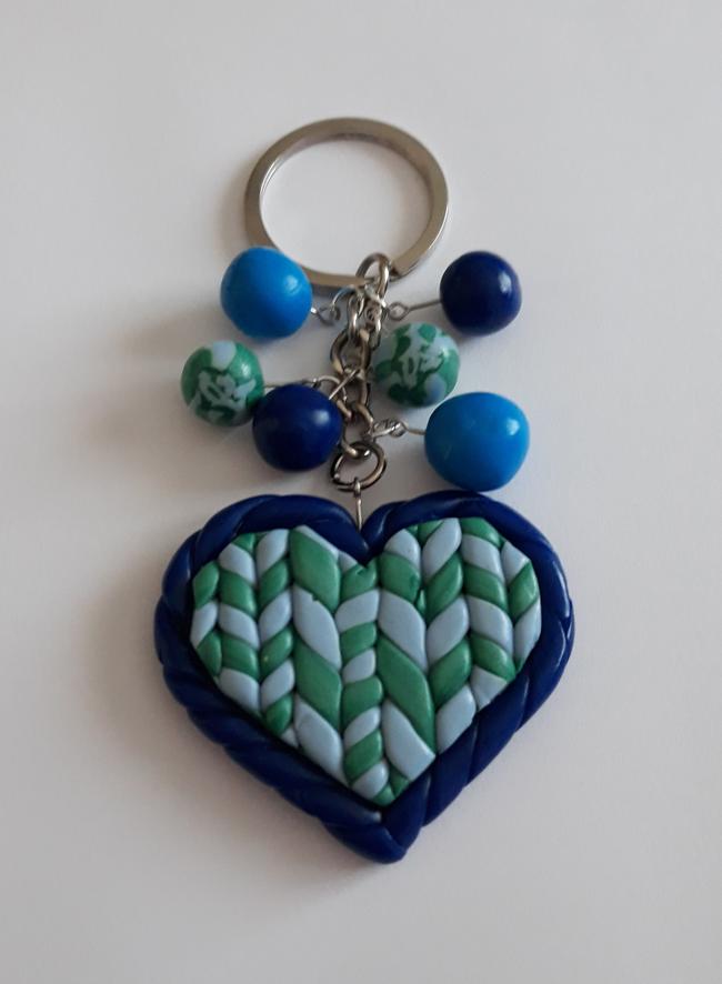 Porte-clefs Cœur Tricoté en pâte polymère