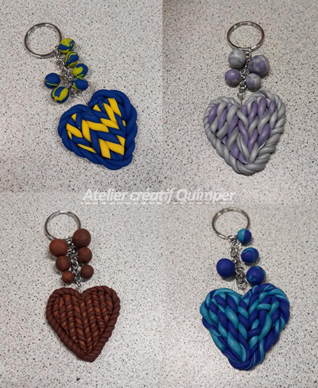 Photos des porte-clefs Cœur Tricoté