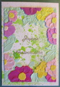 Cadre de fleurs embossées sur ma carte