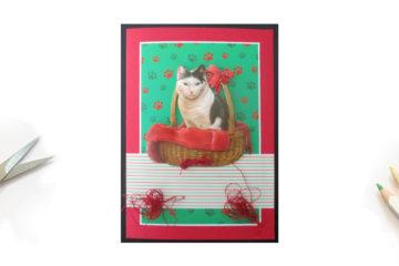 Une carte rouge avec un chat et du fil