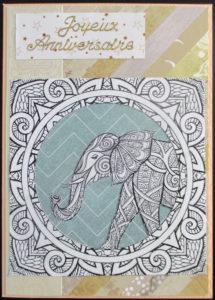 Un mandala éléphant à colorier